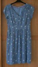 Ladies White Stuff Wash Blue V Neck Short Sleeve Lined Dress Size 14
