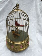 NO RESERVE VINTAGE 2 SINGING BIRDS CAGE AUTOMATION MECHANICAL WIND UP MUSIC BOX
