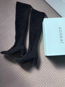 Kookai Tali Over The Knee Genuine Suede Leather Boots Black Sz 5.5