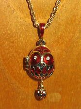 FABERGE inspired ENAMEL Swarovsky EGG RED BLACK OWL inside Baby OWL pendant GIFT