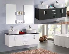 Mobile Bagno doppio lavabo 150 bianco con Specchio e Top cristallo nero Mobili |