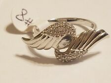 ANGEL WINGS Ring Size 8 Sterling Silver w/ lab-created diamonds