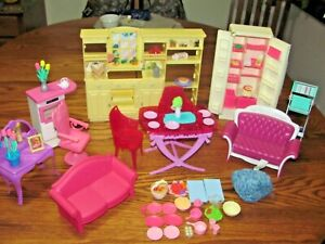 LOT OF BARBIE FURNITURE AND ACCESSORES & FOOD ITEMS~MATTEL