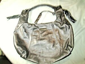 Joes Jeans – Large Silver Leather Hobo Shoulder Bag with tassels VGC