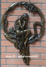 Western Pure Bronze Art Deco Sculpture Nude girl Woman Sit garland Statue