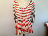 LIVE AND LET LIVE White Pink Black Stripe Studded 3/4 Sleeve Tunic Top Size XL