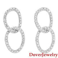 Estate White Topaz Sterling Silver Dangle Oval Earrings 9.5 Grams NR