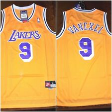 Throwback Nick Van Exel Los Angeles Lakers Yellow Retro NBA Mens Large Jersey