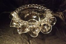 Vintage Imperial Glass Crocheted Crystal Punch Bowl w/ 7 Cups Harmony House Lace