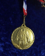 Martial Arts Gold 45mm Metal Medal on Ribbon Karate Judo Competition Tournament