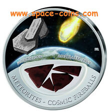 Murchison METEORITE silver coin! $10 Fiji, only 999 made! Cosmic Fireballs 2013