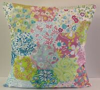 SHABBY CHIC-STYLE PATCHWORK SINGLE CUSHION COVERS MULTI COLOURED PINK BLUE LILAC