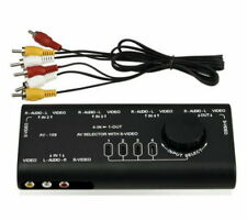 4in1 AV Stereo Audio S-Video Signal Switcher Selector Splitter Switch+RCA cable