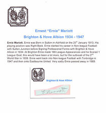 ERNIE MARIOTT BRIGHTON & HOVE ALBION 1934-47 RARE ORIG HAND SIGNED CUTTING/CARD