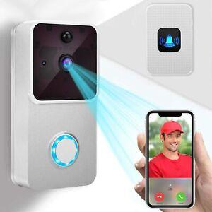 1080P Video Doorbell Camera 166° Angel Night Vision Rechargeable Door bell Cam