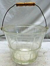 Vintage Antique Glass Paneled Handle Ice Bucket