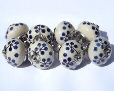 8x Blanco Antiguo Redondo Tallos Negros Azul Lunares (cromado) cerámica