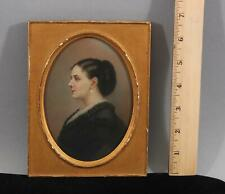 19thC Antique Miniature Portrait Watercolor Painting of Woman & Pearl Earrings