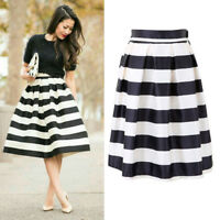 US Womens High Waist Pleated Elastic Black and Stripe Flare Skater Midi Skirt