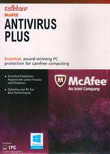 McAfee ANTIVIRUS PLUS 2017 1 PC 1 Year Activation card