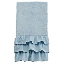 LUXURY SMOKY AQUA BLUE - GREEN LAUREN CONRAD ELLA RUFFLED BATH HAND TOWEL NWT