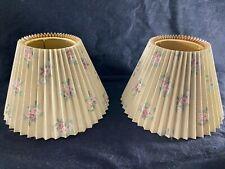 "Vintage Laura Ashley Lamp Shades-2-Beige w/Pink/Plum Roses-7"" Ht- ROMANTIC- SALE"