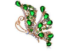 Profile Butterfly Pin Brooch Crystal Elements Emerald Green Side