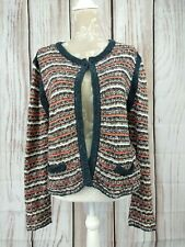 Monsoon Striped Sparkle Open Cardigan Cropped Size 16