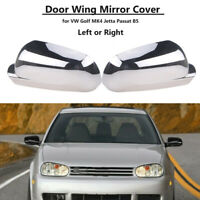 Pair Chrome Mirror Cover Casing Decor Replacement for VW Jetta MK4 Bora Passat