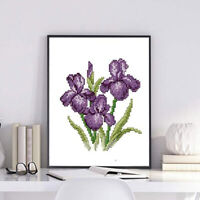 Purple Flower Pattern Stamped Cross Stitch Kits DIY Needlework 8.3x8.3'' 11CT