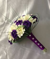 BRIDES ARTIFICIAL FLOWERS IVORY PURPLE ROSE GERBERA WEDDING BRIDES BOUQUET POSIE