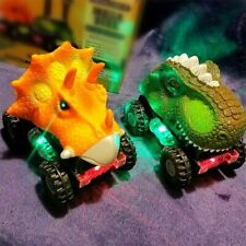 Dinosaur Vehicles Pull Back Cars with LED Light Sound Toys for Boys Baby Kids