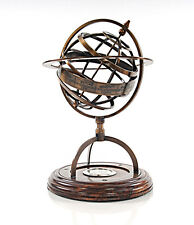 "Brass Armillary Sphere 11"" w/ Compass & Wood Base Globe Table Top Nautical Decor"