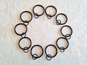 10 x Black Double Curtain Rings 40mm Outside Diam x 34mm Inside Diam