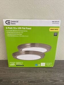 """Commercial Electric 13"""" Ceiling LED Light Flush Mount Nickel Dimmable 2 Pk ^"""