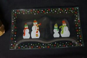 Pampered Chef Snowmen-Dots Divided Glass Platter #3012 Christmas Snowman Winter