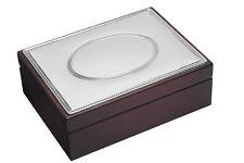 SOLID SILVER & MAHOGANY WOOD JEWELLERY BOX / TRINKET / JEWELRY (NEW) ENGRAVABLE