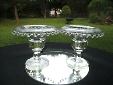 1941-43 IMPERIAL GLASS CANDLEWICK URN CANDLE HOLDERS HUGHES CORNFLOWER CUTTINGS