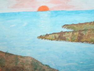 Impressionist seascape landscape watercolor painting