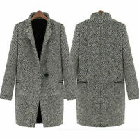 Womens Check Woolen Trench Coat Jacket Winter Warm Long Parka Outwear Overcoat