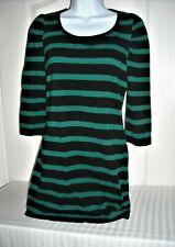 XAI Stripe Top Size Large Black Green Stretch Tunic 3/4 Sleeves Mini Dress