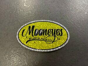 "Mooneyes oval metal flake sticker 3 x 2 "" hot rod gasser rockabilly"