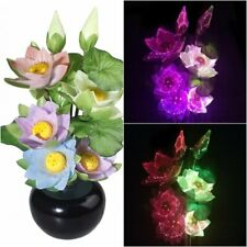RGB Color Changing Lotus Flower Potted Fiber Optic Table Lights Xmas Home Decor