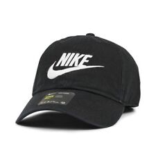 Nike Futura Wash Heritage86 Sports Peak Cap Baseball Hat Logo Adj Running BLACK