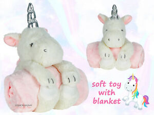 New Baby Girls Unicorn Soft Toy & Blanket Gift Set Cute Unicorn Toy Pink Blanket