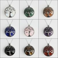 Natural Gemstones Tree of Life Reiki Chakra Pendant Silver Necklace for Women
