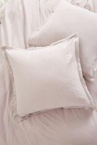 Anthropologie 💜 Relaxed Cotton - Linen Two Euro Shams LAVENDER w/ STRIPE NWT