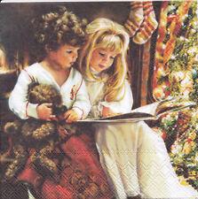 3 Servietten Weihnachten Kinder Junge Teddy Mädchen Buch Weihnachtsgeschichte