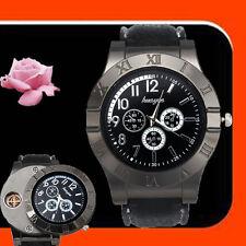 Windproof Men's Military Quartz Watch USB Cigarette Cigar Flameless Lighter BK