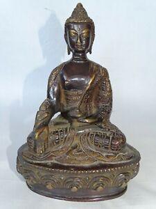 Alte Figur/ Statue Medizin Buddha aus Messing; Medizinbuddha Tibet Bhaisajyaguru